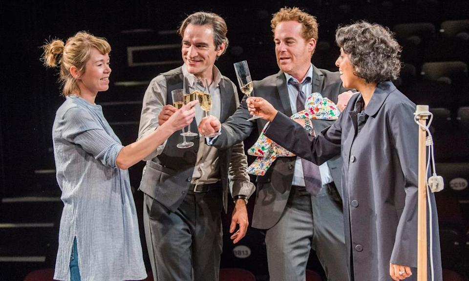 A scene from the National Theatre production of Nina Raine's Consent, directed by Roger Michell, with, from left, Anna Maxwell Martin, Ben Chaplin, Adam James and Priyanga Burford, 2017.