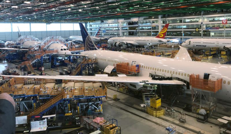 FILE PHOTO: Boeing 787 Dreamliners are shown in final production at widebody factory in North Charleston