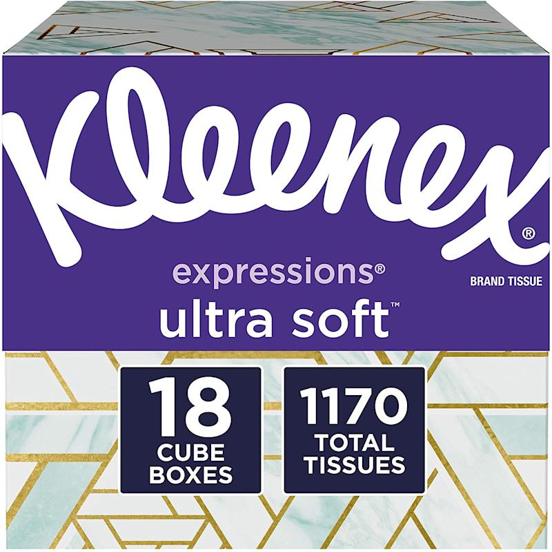 Kleenex Expressions Ultra Soft Facial Tissues, 18 Cube Boxes. (Photo: Amazon)