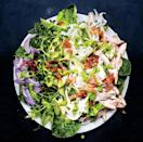 """To make addictively crispy chicken skin, turn it often in the skillet, until it looks like bacon. <a href=""""https://www.bonappetit.com/recipe/green-goddess-cobb-salad?mbid=synd_yahoo_rss"""" rel=""""nofollow noopener"""" target=""""_blank"""" data-ylk=""""slk:See recipe."""" class=""""link rapid-noclick-resp"""">See recipe.</a>"""