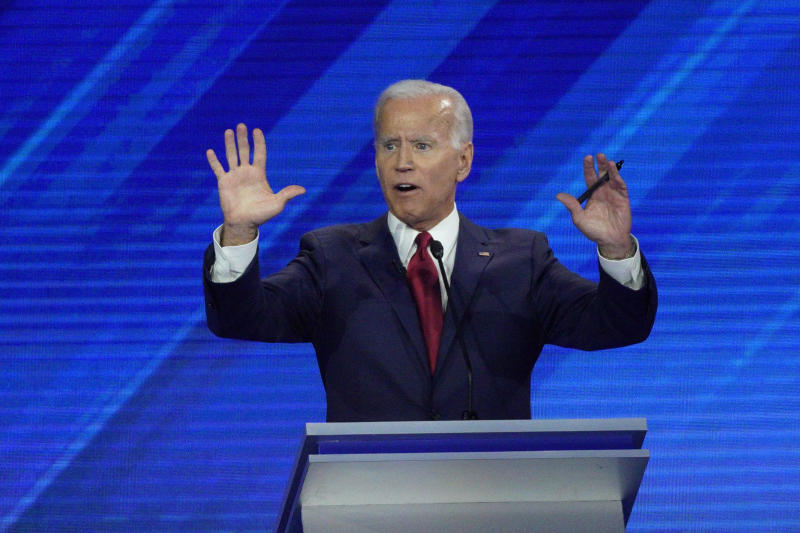 Democratic presidential candidate former Vice President Joe Biden answers a question Thursday, Sept. 12, 2019, during a Democratic presidential primary debate hosted by ABC at Texas Southern University in Houston. (AP Photo/David J. Phillip)