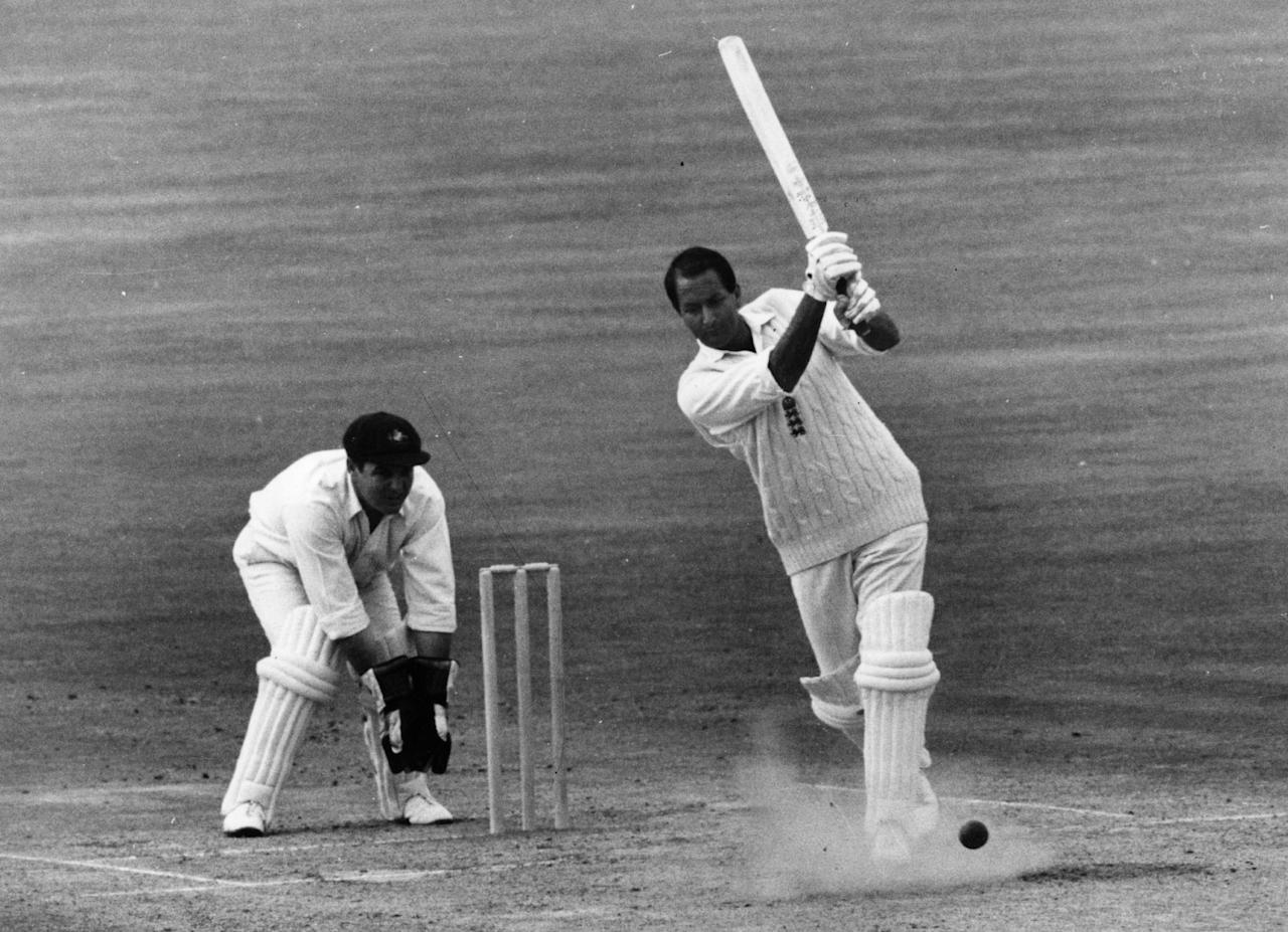 Basil D'Oliveira, South African born British cricketer, in action for England at the Kennington Oval, London. Barry Jarman is wicket-keeping.    (Photo by Keystone/Getty Images)