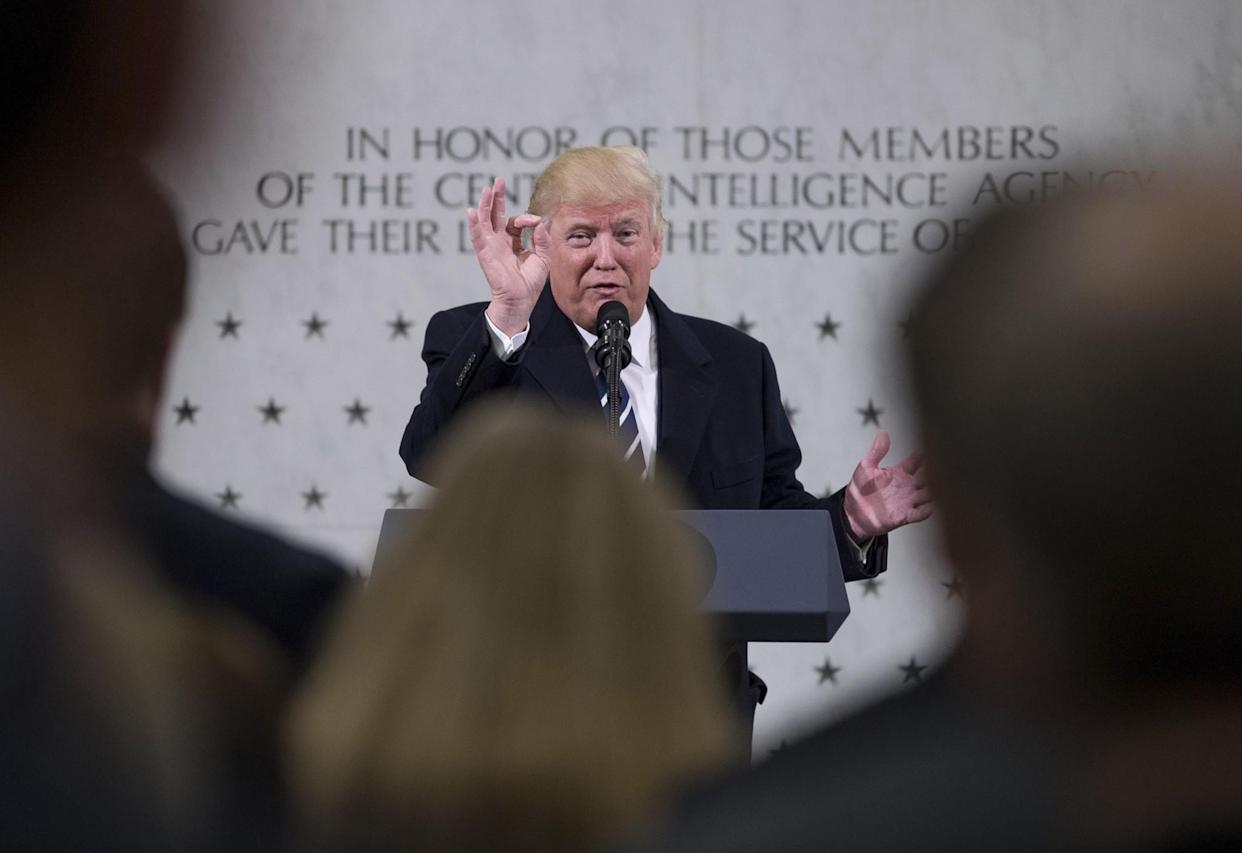 President Trump speaks at the Central Intelligence Agency headquarters in Langley, Va., on January 21. (Photo: Andrew Harnik/AP)