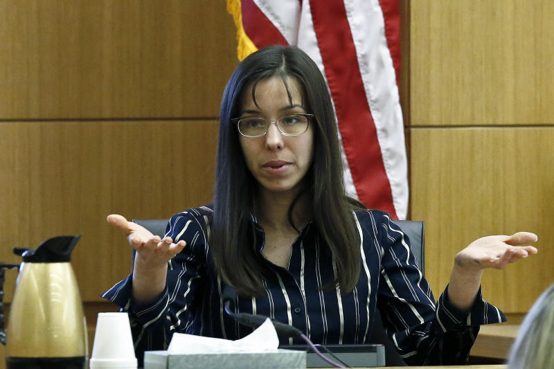 FILE --In a Feb. 13, 2013 file photo Jodi Arias answers a question from one of her attorneys in Maricopa County Superior Court during her murder trial  in Phoenix. Jodi Arias has been on the witness stand for more than a week, recounting one intimate detail of her sex life after another. But she still hasn't mentioned the killing of her boyfriend in 2008.   (AP Photo/Ross D. Franklin, File)