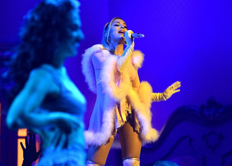 For her performance of 7 Rings, Grande switched into something a little more naughty than nice and had us racing to purchase our own fur-trimmed nighties.