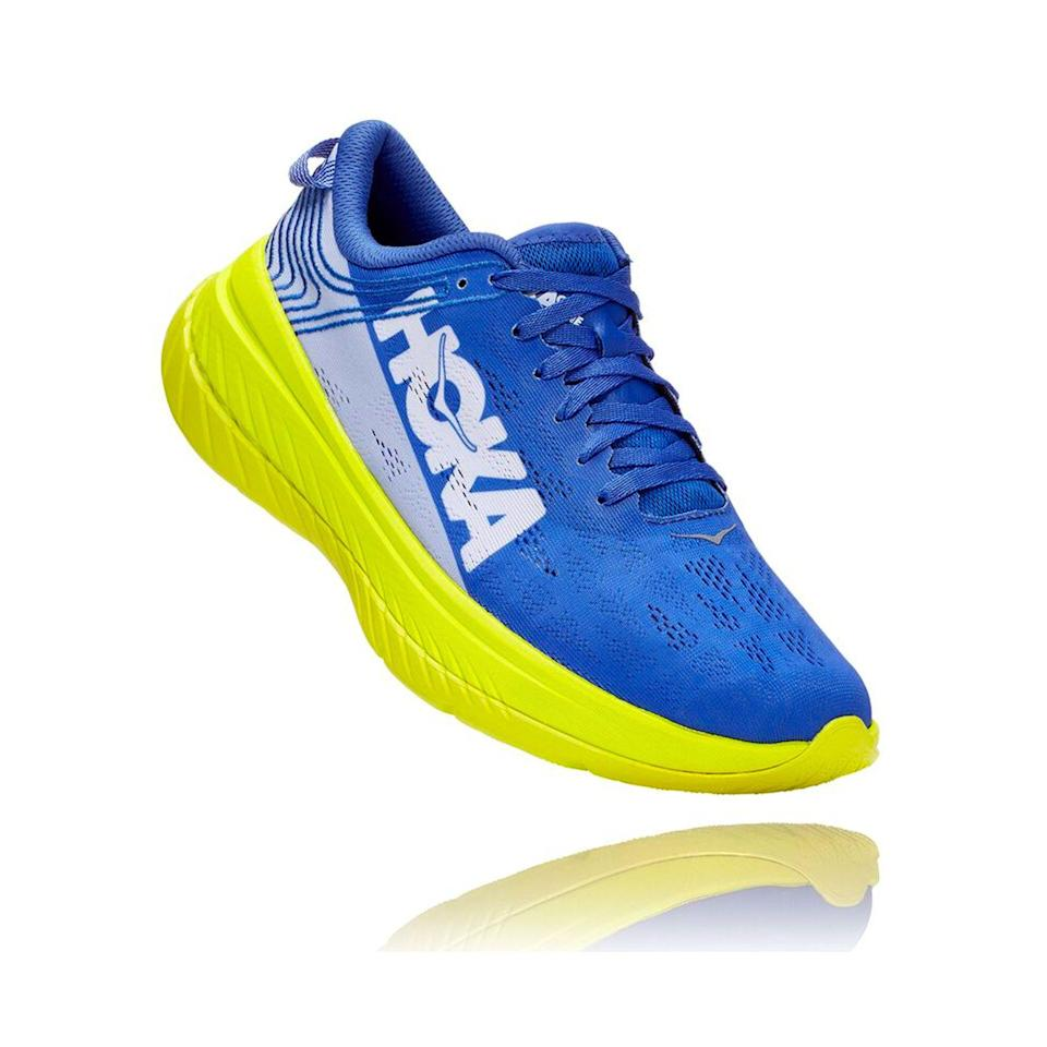 """<p><a href=""""https://go.redirectingat.com?id=74968X1596630&url=https%3A%2F%2Fwww.hokaoneone.com%2Fsale%2Fcarbon-x%2F1102886.html&sref=https%3A%2F%2Fwww.menshealth.com%2Ftechnology-gear%2Fg36099041%2Fhoka-one-one-2021-sale%2F"""" rel=""""nofollow noopener"""" target=""""_blank"""" data-ylk=""""slk:BUY IT HERE"""" class=""""link rapid-noclick-resp"""">BUY IT HERE</a></p><div class=""""product-slide-price""""><strong><del>$180</del> <br>$144.99</strong></div><p>Hoka's top-of-the-line racer with a carbon-fiber plate is designed for going long distances at top speed. It's the shoe Jim Walmsley wore to smash the 50-mile world record in 2019. We can't guarantee you similar speed, but you'll have loads of fun in this fast ride. </p>"""