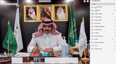 SDRPY Supervisor and Saudi Ambassador to Yemen Mohammed Al Jaber conducts a virtual meeting with UNDP officials (24 June 2020).