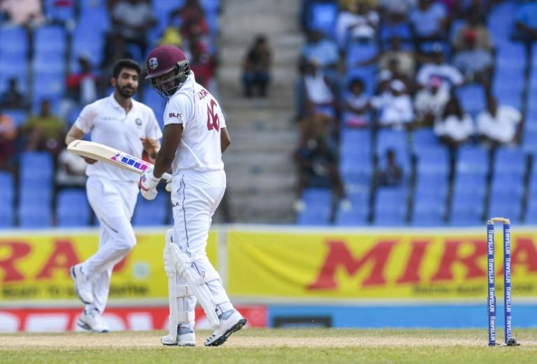 Darren Bravo is bowled by Jasprit Bumrah
