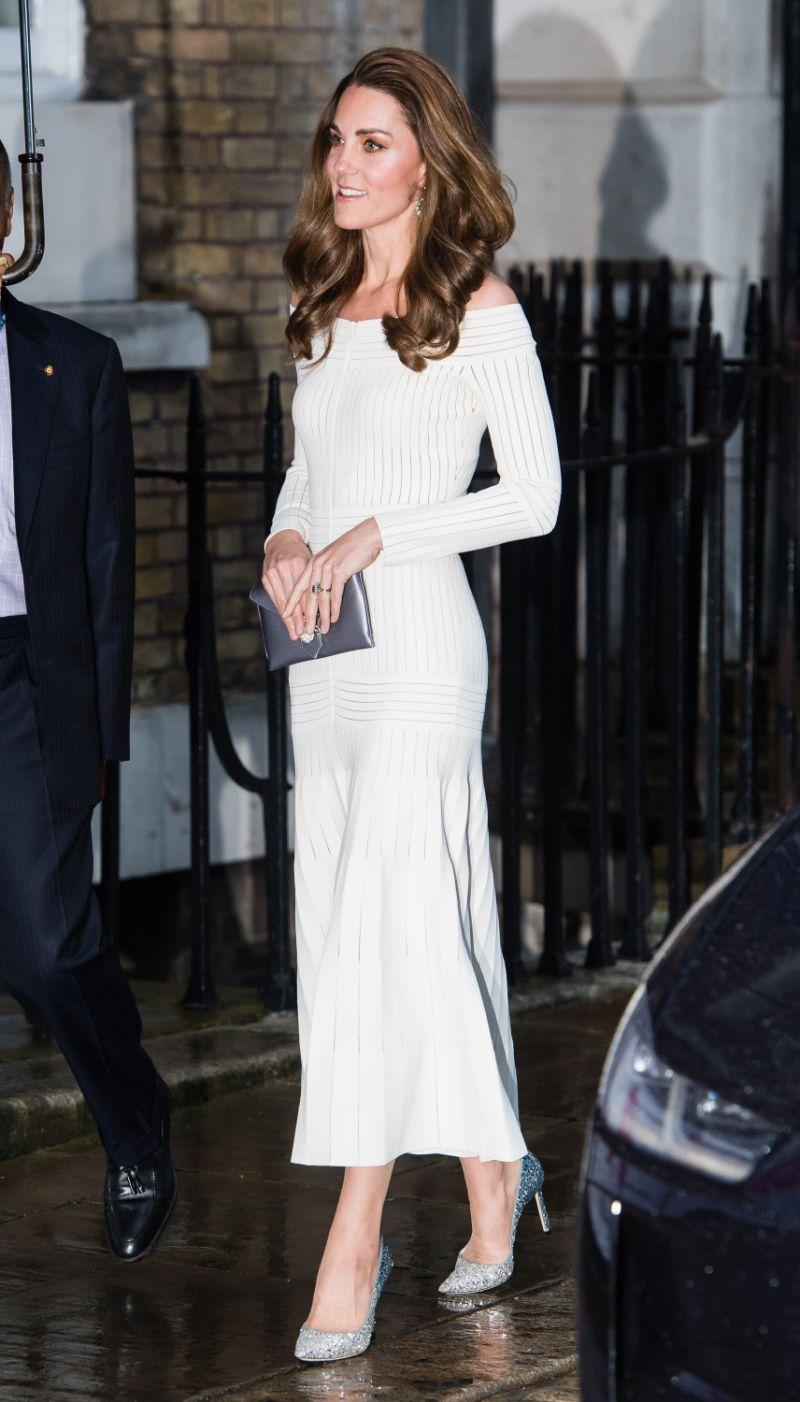 Kate Middleton wore a white Barbara Casasola gown in London