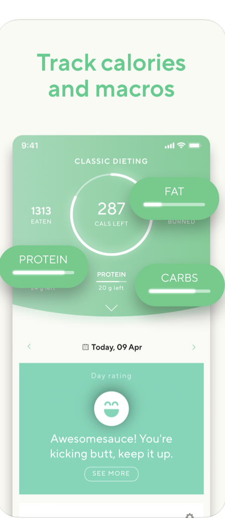 <p>What sets Lifesum apart from other diet trackers is its appealing interface. One reviewer called this app gorgeous. In addition to counting macros, you can read articles about nutrition and find new recipes. </p>