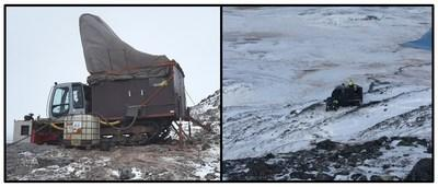 Figure 1. Winterized rig drilling mineralized outcrops at Burfjord. (CNW Group/Boreal Metals)