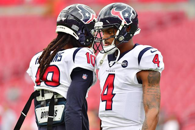 DeAndre Hopkins (10) is one of the NFL's best receivers, and the Houston Texans will need Deshaun Watson to play his best in the postseason, too. (Photo by Julio Aguilar/Getty Images)