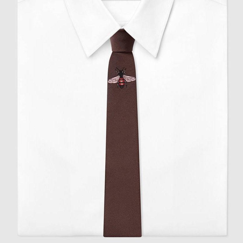 "<p><em>Gucci bee embroidered silk tie, $200, buy now at <a rel=""nofollow"" href=""https://www.gucci.com/us/en/pr/men/mens-accessories/mens-ties/mens-ties/bee-underknot-silk-tie-p-4521764E0022000?mbid=synd_yahoostyle"">gucci.com</a></em></p>"