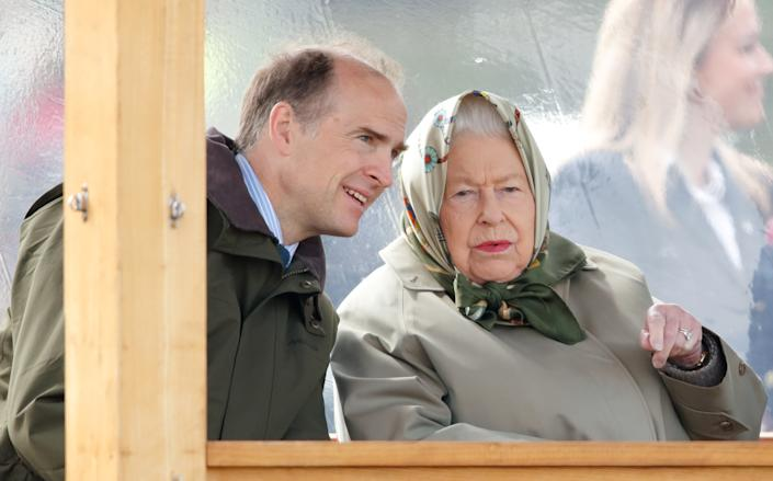 WINDSOR, UNITED KINGDOM - MAY 11: (EMBARGOED FOR PUBLICATION IN UK NEWSPAPERS UNTIL 24 HOURS AFTER CREATE DATE AND TIME) Queen Elizabeth II, accompanied by Donatus, Prince and Landgrave of Hesse, watches her horse 'Balmoral Mandarin' compete in the BSPS Ridden Mountain and Moorland class on day 4 of the Royal Windsor Horse Show in Home Park on May 11, 2019 in Windsor, England. (Photo by Max Mumby/Indigo/Getty Images)