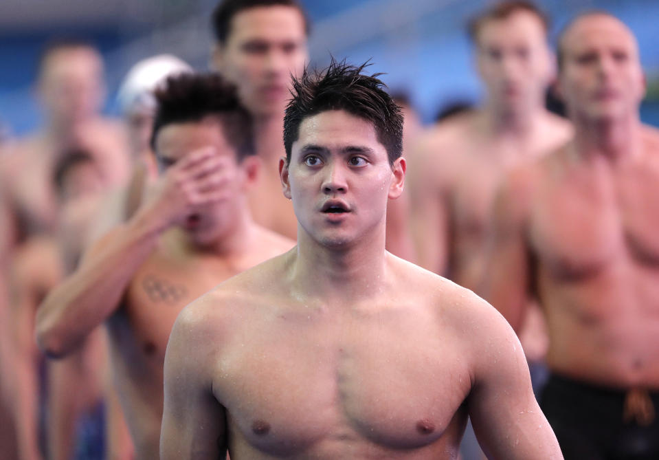 Singapore's Joseph Schooling leaves the pool following his heat in the men's 4x100m freestyle relay at the World Swimming Championships in Gwangju, South Korea, Sunday, July 21, 2019. (AP Photo/Lee Jin-man)