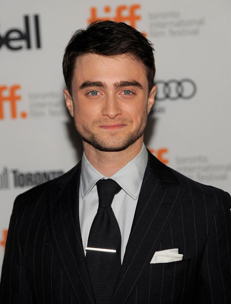 """Daniel Radcliffe arrives at the premiere of """"The F Word"""" on day 3 of the Toronto International Film Festival at the Ryerson Theatre on Saturday, Sept. 7, 2013, in Toronto. (Photo by Chris Pizzello/Invision/AP)"""