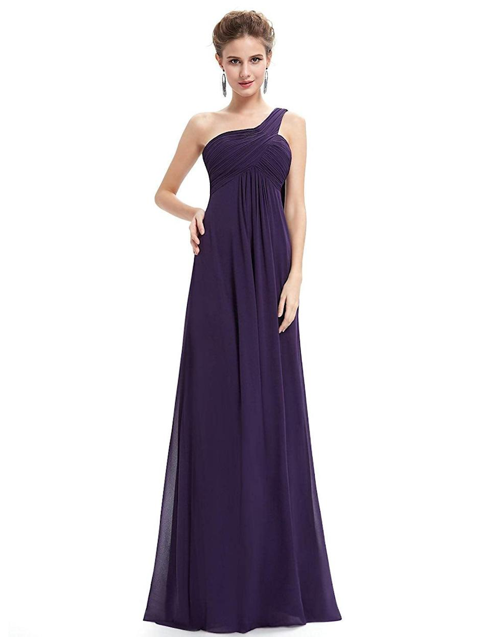 """<h3><a href=""""https://amzn.to/2vHFJZC"""" rel=""""nofollow noopener"""" target=""""_blank"""" data-ylk=""""slk:One-Shoulder Gown"""" class=""""link rapid-noclick-resp"""">One-Shoulder Gown</a></h3><br><strong>Arianna </strong><br><br><strong>How She Discovered It:</strong> """"I was going to a black-tie wedding and didn't want to spend a lot of money on a dress, and I had an Amazon gift card so...I googled formal dresses on Amazon and found one with rave reviews. A lot of girls mentioned using it as a bridesmaid dress!""""<br><br><strong>Why It's A Hidden Gem:</strong> """"I only paid $50 for it, I got a lot of compliments on it, AND have turned multiple people onto the same dress — so a lot of my friends own it as well.""""<br><br><strong>Ever Pretty</strong> One-Shoulder Evening Dress, $, available at <a href=""""https://amzn.to/2vHFJZC"""" rel=""""nofollow noopener"""" target=""""_blank"""" data-ylk=""""slk:Amazon"""" class=""""link rapid-noclick-resp"""">Amazon</a>"""