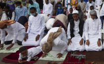Muslims young and old gather for prayers to celebrate Eid al-Adha, or Feast of Sacrifice, that commemorates the Prophet Ibrahim's faith in Nairobi, Kenya, Tuesday, July 20, 2021. Eid al-Adha marks the end of hajj. (AP Photo/Sayyid Abdul Azim)