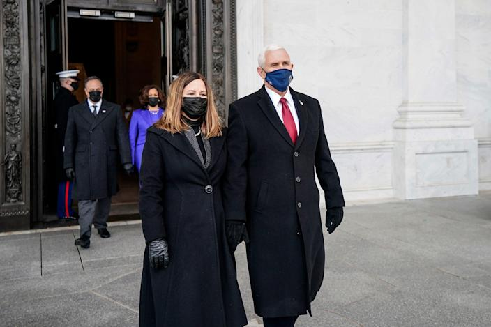 <p>File Image: Former Vice President Mike Pence and his wife, Karen Pence, after the inauguration of President Joe Biden on 20 January 2021 in Washington, DC.</p> (Getty Images)