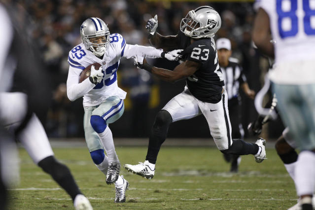 <p>Dallas Cowboys wide receiver Terrance Williams (83) runs with the ball after making a catch next to Oakland Raiders cornerback Dexter McDonald (23) in the first quarter at Oakland Coliseum. Mandatory Credit: Cary Edmondson-USA TODAY Sports </p>
