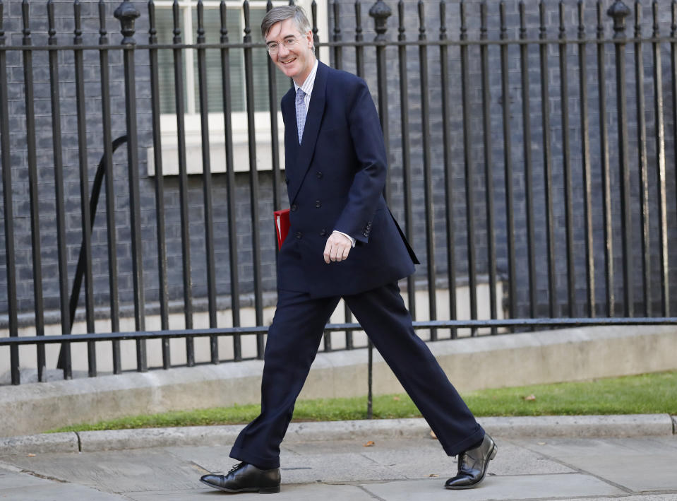 Leader of the House of Commons Jacob Rees-Mogg arrives for a Cabinet meeting at 10 Downing Street in London, Thursday, July 25, 2019. Newly appointed Prime Minister Boris Johnson assembles members of his new Cabinet, meeting for the first time Thursday. (AP Photo/Frank Augstein)
