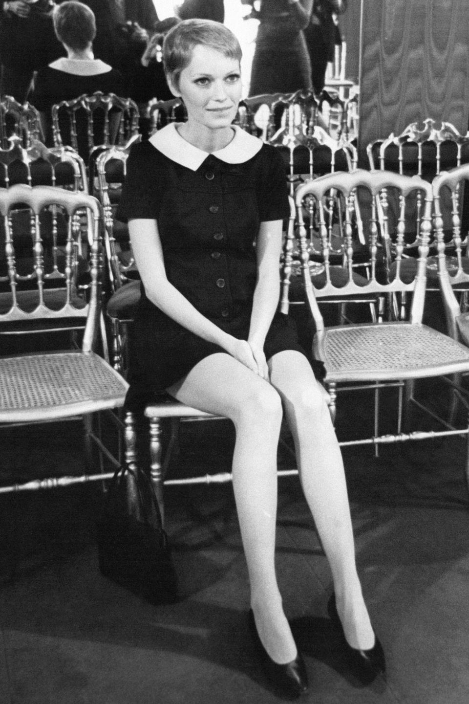 <p>Known for her effortless style, Farrow attended a fashion presentation in Paris in 1967 dressed in a trendy Peter Pan collared mini dress. </p>