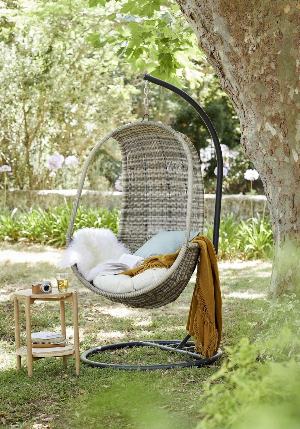 """<p>Egg chairs are all the rage this summer. As well as looking incredibly stylish in the <a href=""""https://www.countryliving.com/uk/homes-interiors/gardens/g35861330/best-garden-parasols-bases/"""" rel=""""nofollow noopener"""" target=""""_blank"""" data-ylk=""""slk:garden"""" class=""""link rapid-noclick-resp"""">garden</a>, they're the perfect spot for gently swinging in the sunshine. Add a soft blanket for extra comfort. </p><p><a class=""""link rapid-noclick-resp"""" href=""""https://go.redirectingat.com?id=127X1599956&url=https%3A%2F%2Fwww.johnlewis.com%2Fjohn-lewis-partners-garden-dante-hanging-pod-chair%2Fp2067115&sref=https%3A%2F%2Fwww.countryliving.com%2Fuk%2Fhomes-interiors%2Fgardens%2Fg35933581%2Fjohn-lewis-garden-collection-spring-summer%2F"""" rel=""""nofollow noopener"""" target=""""_blank"""" data-ylk=""""slk:SHOP NOW"""">SHOP NOW</a></p>"""