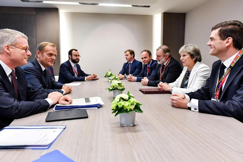 Negotiations: May and Tusk attend a meeting on Friday morning (REUTERS)