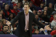 Nebraska head coach Fred Hoiberg reacts to a call during the first half of an NCAA college basketball game against Northwestern in Evanston, Ill., Saturday, Jan. 11, 2020. (AP Photo/Nam Y. Huh)