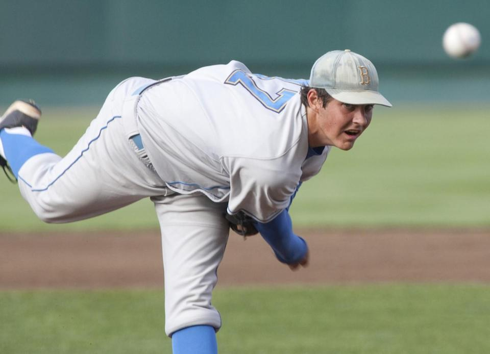 Trevor Bauer, pitching for UCLA in the College World Series in 2010, grew up as a Dodgers fan.