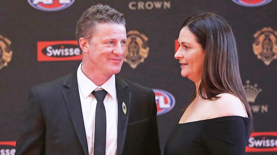 Damien and Danielle Hardwick are pictured here together at an AFL awards night.