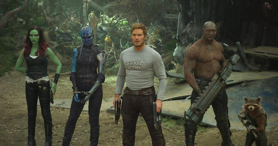 L-R: Gamora (Zoe Saldana), Nebula (Karen Gillan), Star-Lord (Chris Pratt), Drax (Dave Bautista) and Rocket Raccoon in 'Guardians of the Galaxy Vol 2' (credit: Marvel Studios)