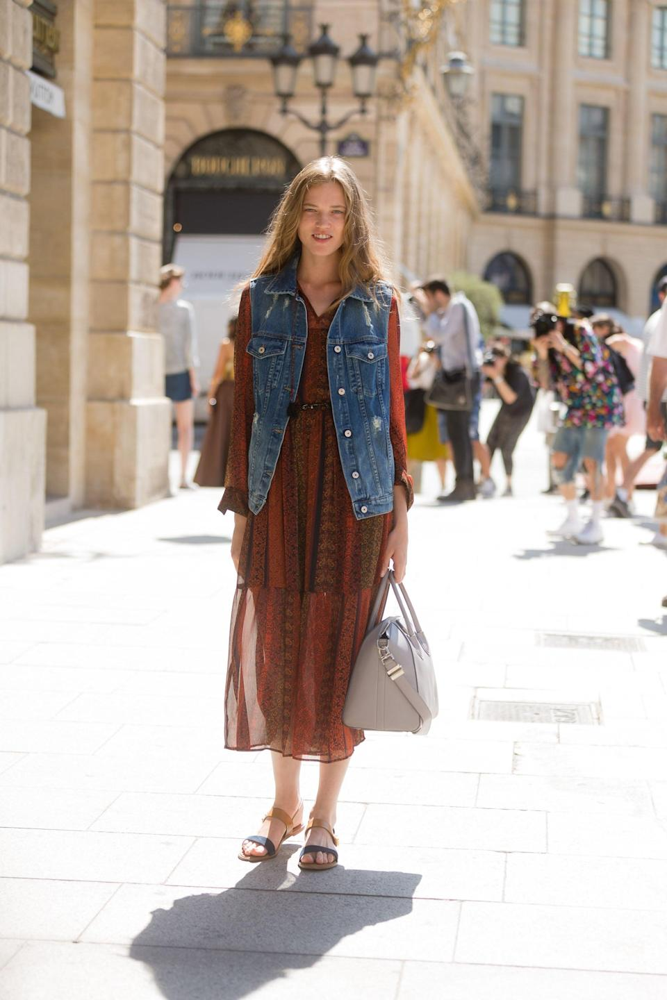 <p>Throw on a vest to add some variety to your favorite summer dress.</p>