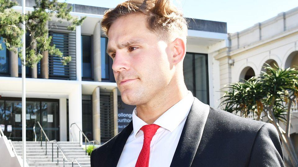 St. George Illawarra Dragons rugby league player Jack de Belin leaves the Wollongong District Court. (AAP Image/Dean Lewins)