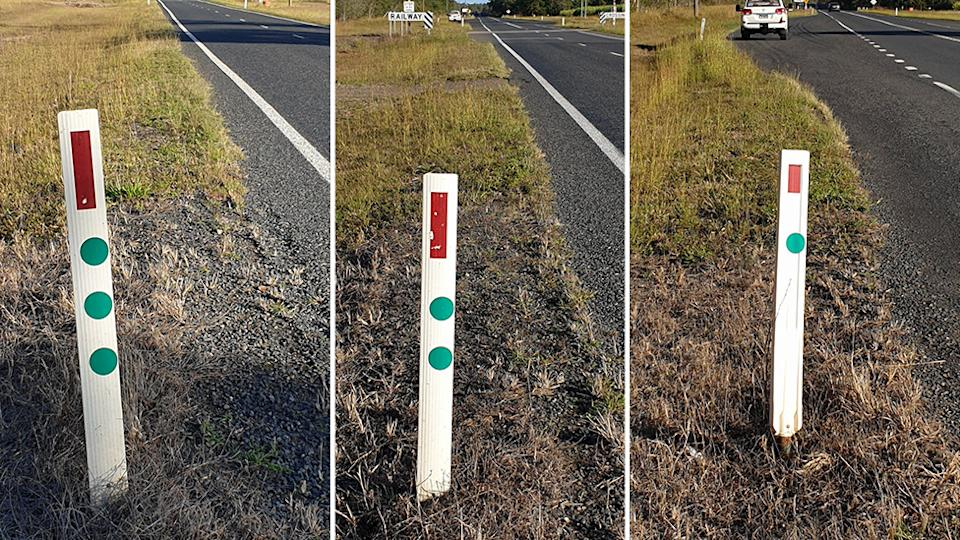 Picture of the green reflective dots seen on three different posts in Bundeberg, Queensland