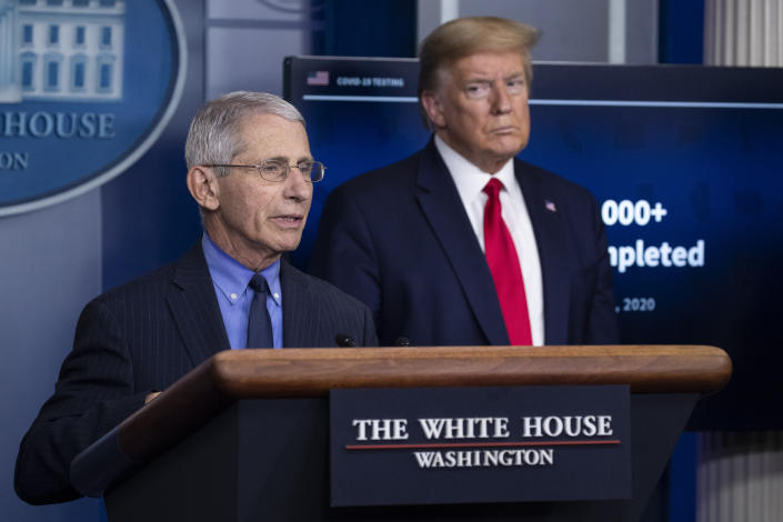 FILE - In this April 17, 2020, file photo Dr. Anthony Fauci, director of the National Institute of Allergy and Infectious Diseases, about the coronavirus, as President Donald Trump listens, in the James Brady Press Briefing Room of the White House in Washington. (AP Photo/Alex Brandon, File)
