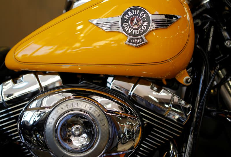 FILE PHOTO: A Harley-Davidson motorcycle fuel tank and engine are seen in Frederick Maryland