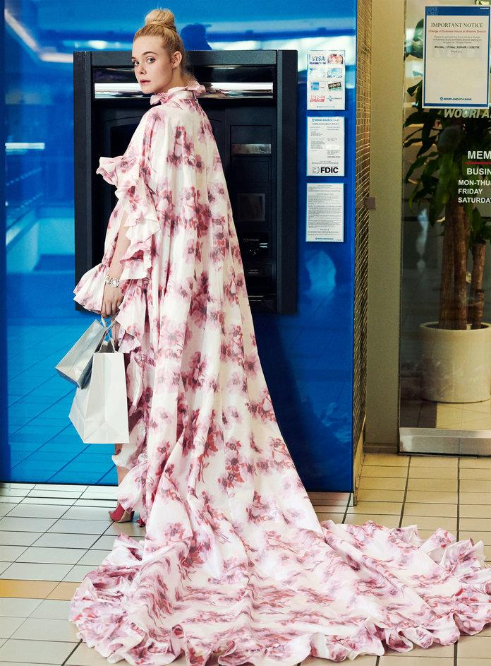 <p>Fanning in Giambattista Valli Haute Couture dress. Chanel Fine Jewelry watch. Jimmy Choo pumps. Photographed by Pamela Hanson/LGA Management.</p>