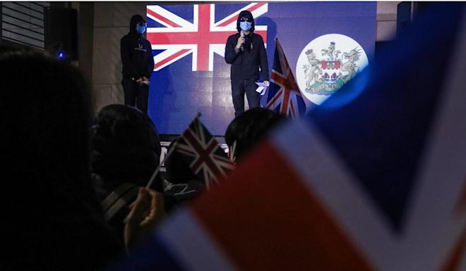 Activists at a rally outside the British Consulate in Admiralty, calling on London to annul the Sino-British Joint Declaration. Photo: K.Y. Cheng