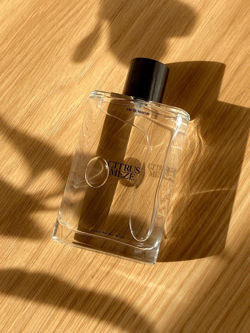 """<strong><h2>No.03 Citrus Meze EDP, £25.99 for 90ml</h2></strong><br>""""I'm picky when it comes to perfume, which is why I always go for something citrusy; you just can't go wrong. Straight out of the bottle, this perfume genuinely smells like freshly squeezed grapefruit and lime. What follows is a slightly sweet, almost floral undertone (which I wasn't expecting) that balances the scent nicely. Something about it feels very nostalgic to me. Overall, it's light yet vibrant, making it perfect for summer! The packaging is simple but feels very sleek for the price point and this perfume will definitely last you a while. If you're in the market for a classic citrusy scent, this one's a winner."""" <strong>– Kristine Romano, assistant, photo & design.<br></strong><br><br><strong>Zara Rain</strong> No.03 Citrus Meze EDP, $, available at <a href=""""https://www.zara.com/uk/en/n%C2%B003-citrus-meze-edp-90-ml---3-04%C2%A0oz-p20110273.html?v1=108989265"""" rel=""""nofollow noopener"""" target=""""_blank"""" data-ylk=""""slk:Zara"""" class=""""link rapid-noclick-resp"""">Zara</a>"""