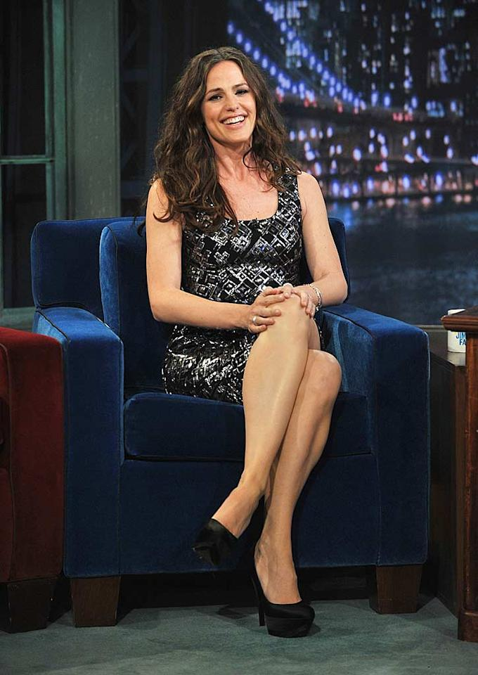 """Last, but not least ... """"Arthur's"""" Jennifer Garner, who rocked a bedazzled Rachel Roy dress, Cartier baubles, and Casadei pumps for an appearance on """"Late Night With Jimmy Fallon.""""  Follow 2 Hot 2 Handle creator, <a href=""""http://bit.ly/lifeontheMlist"""" target=""""new"""">Matt Whitfield</a>, on Twitter! Theo Wargo/<a href=""""http://www.gettyimages.com/"""" target=""""new"""">GettyImages.com</a> - April 6, 2011"""