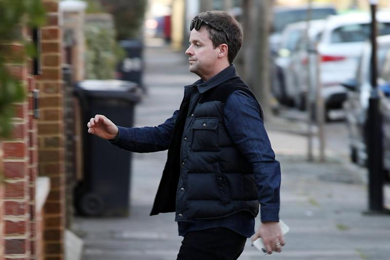 Declan Donnelly returns home after visiting McPartlin (Splash News)