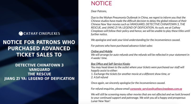 A notice on Cathay Cineplexes' website. (Screencap)