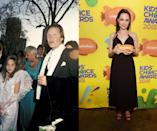 """<p><em>Then: </em>At the 58th Academy Awards in 1986</p><p><em>Now: </em><span class=""""redactor-invisible-space"""">At the Kid's Choice Awards</span></p>"""
