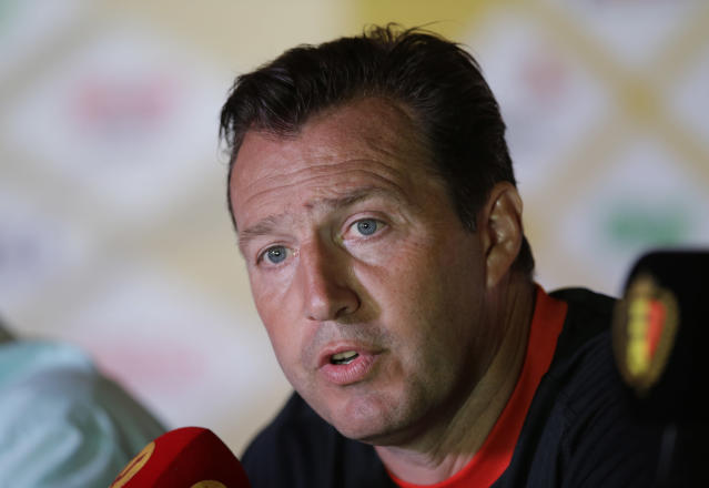 Belgium's head coach Marc Wilmots answers journalists' questions during a press conference, in Mogi Das Cruzes, Brazil, Friday, June 13, 2014. Belgium play in group H of the 2014 soccer World Cup. (AP Photo/Andrew Medichini)