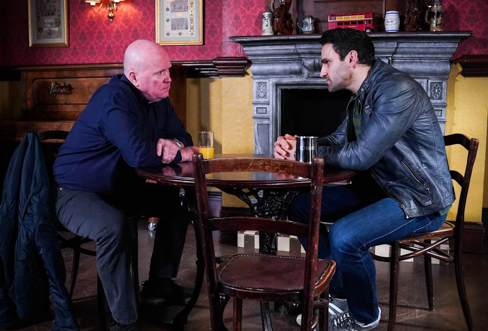 WARNING: Embargoed for publication until 00:00:01 on 30/03/2021 - Programme Name: EastEnders - April-June 2021 - TX: 09/04/2021 - Episode: EastEnders - April-June 2021- 6252 (No. 6252) - Picture Shows: ***EMBARGOED TILL TUESDAY 30TH MARCH 2021*** Phil Mitchell (STEVE MCFADDEN), Kush Kazemi (DAVOOD GHADAMI) - (C) BBC - Photographer: Kieron McCarron/Jack Barnes