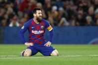 Barcelona's Lionel Messi reacts after missing a scoring chance during a Champions League Group F soccer match between Barcelona and Slavia Praha at Camp Nou stadium in Barcelona, Spain, Tuesday, Nov. 5, 2019. (AP Photo/Joan Monfort)