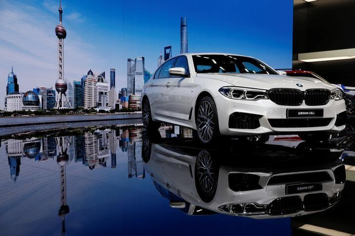 BMW 5-Series Li car is displayed at the auto show in Shanghai