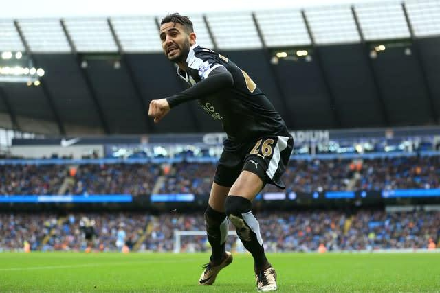 Mahrez toasts his goal at the Etihad (PA)