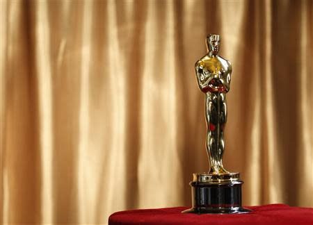 """File photo of an Oscar statuette at the """"Meet the Oscars"""" exhibit at Grand Central Station in New York"""